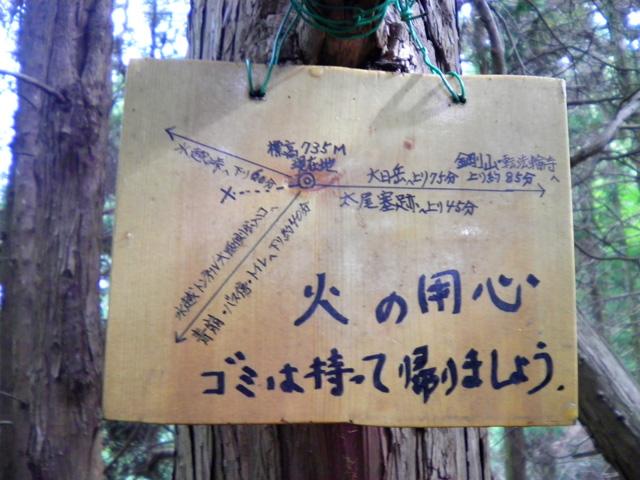 太尾根東 最後の分岐 標識